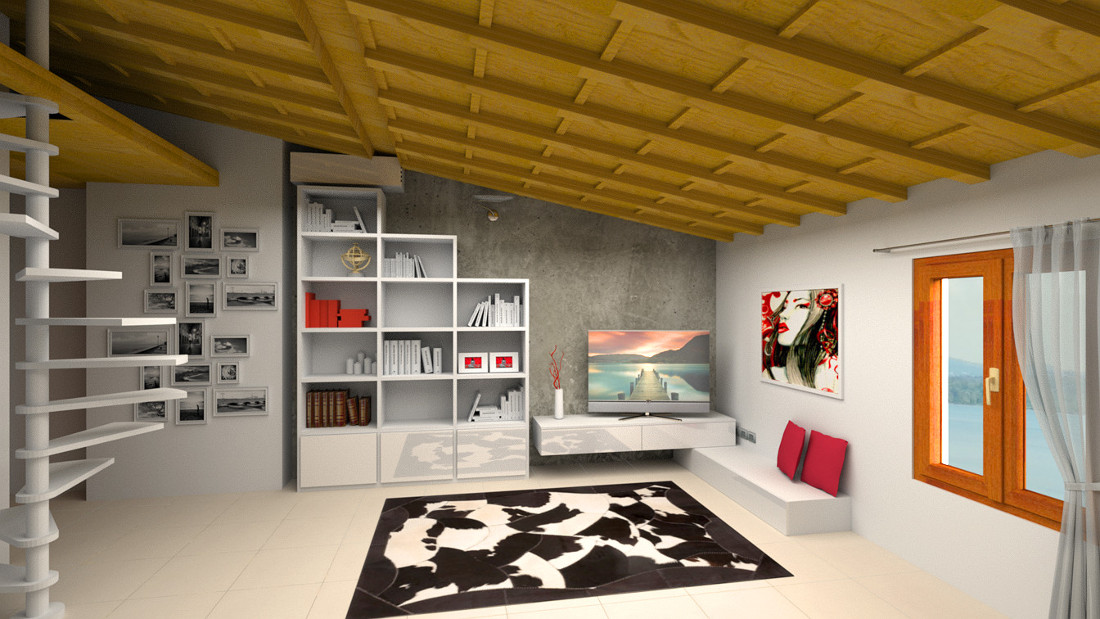 Rendering open space moderno con libreria e porta TV